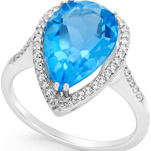 Blue and White Topaz Halo Ring (5 ct. t.w.) in Ste